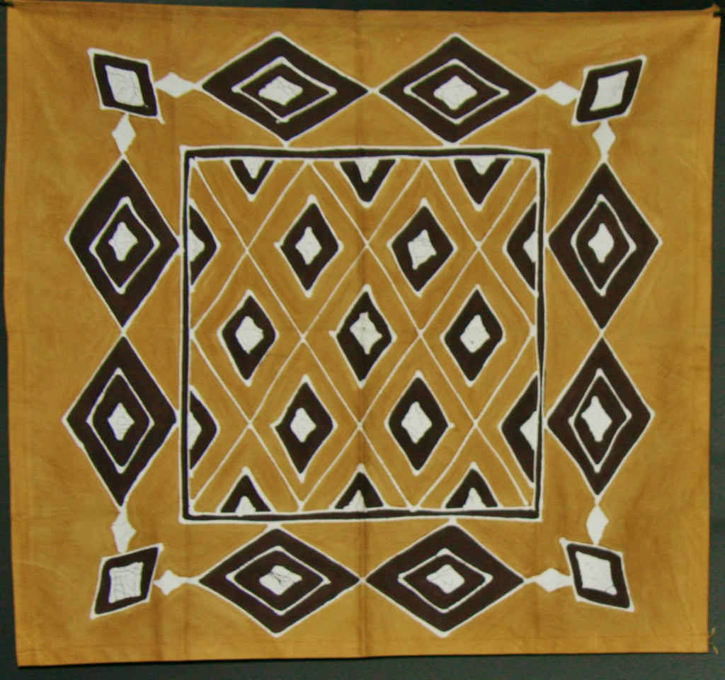 "African Table Overlay Zulu Tribal Diamonds  Hand Painted Wall Hanging - 29"" X 31"""