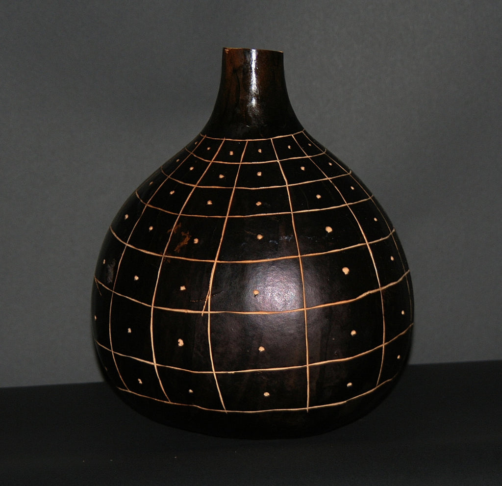 "African Gourd Carved/Engraved Decorative Black White Kenya 12""H X 11""W - Cultures International From Africa To Your Home"