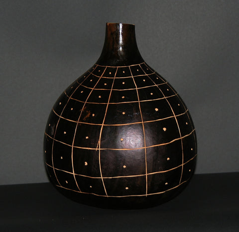 "African Gourd Carved/Engraved Decorative Black White Kenya 12""H X 11""W - culturesinternational  - 1"