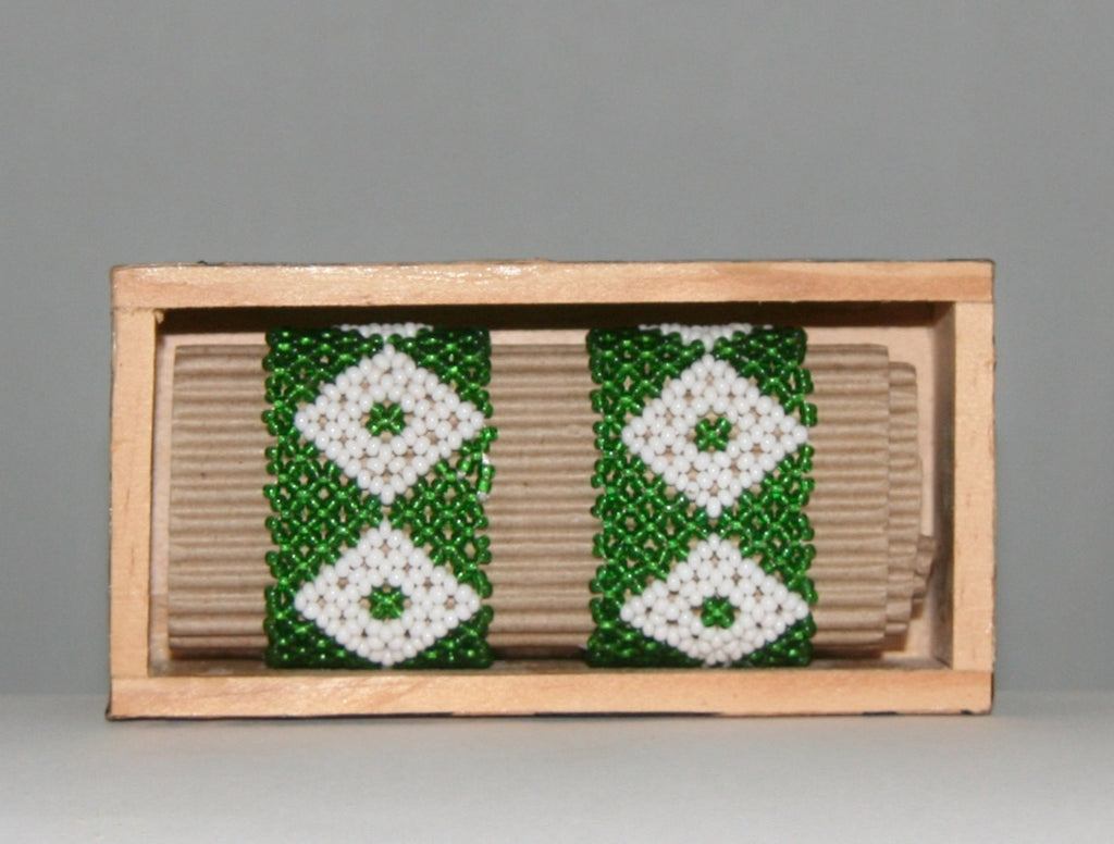 "African Beaded Napkin Rings Green White Zulu Tribal Designs Handcrafted Set of 2 South Africa 1"" X 2"" Handmade Wood Gift Box"