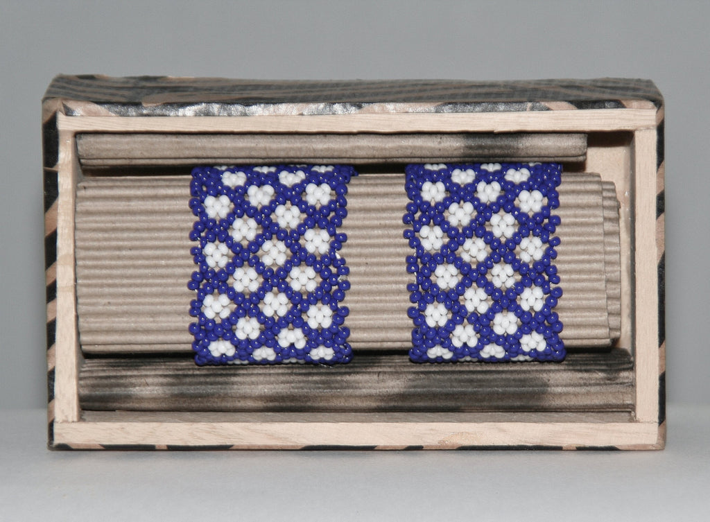 "African Beaded Napkin Rings Navy White Zulu Tribal Designs Handcrafted Set of 2 South Africa 1"" X 2"" Handmade Wood Gift Box"