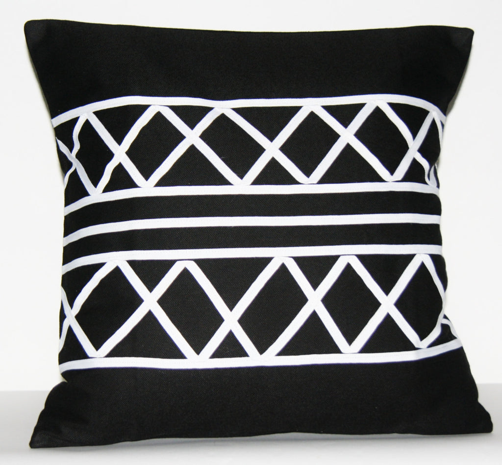 "Designer African Xhosa Tribal Black White Applique Pillow Cover 18.5"" X 18.5"" Handmade"