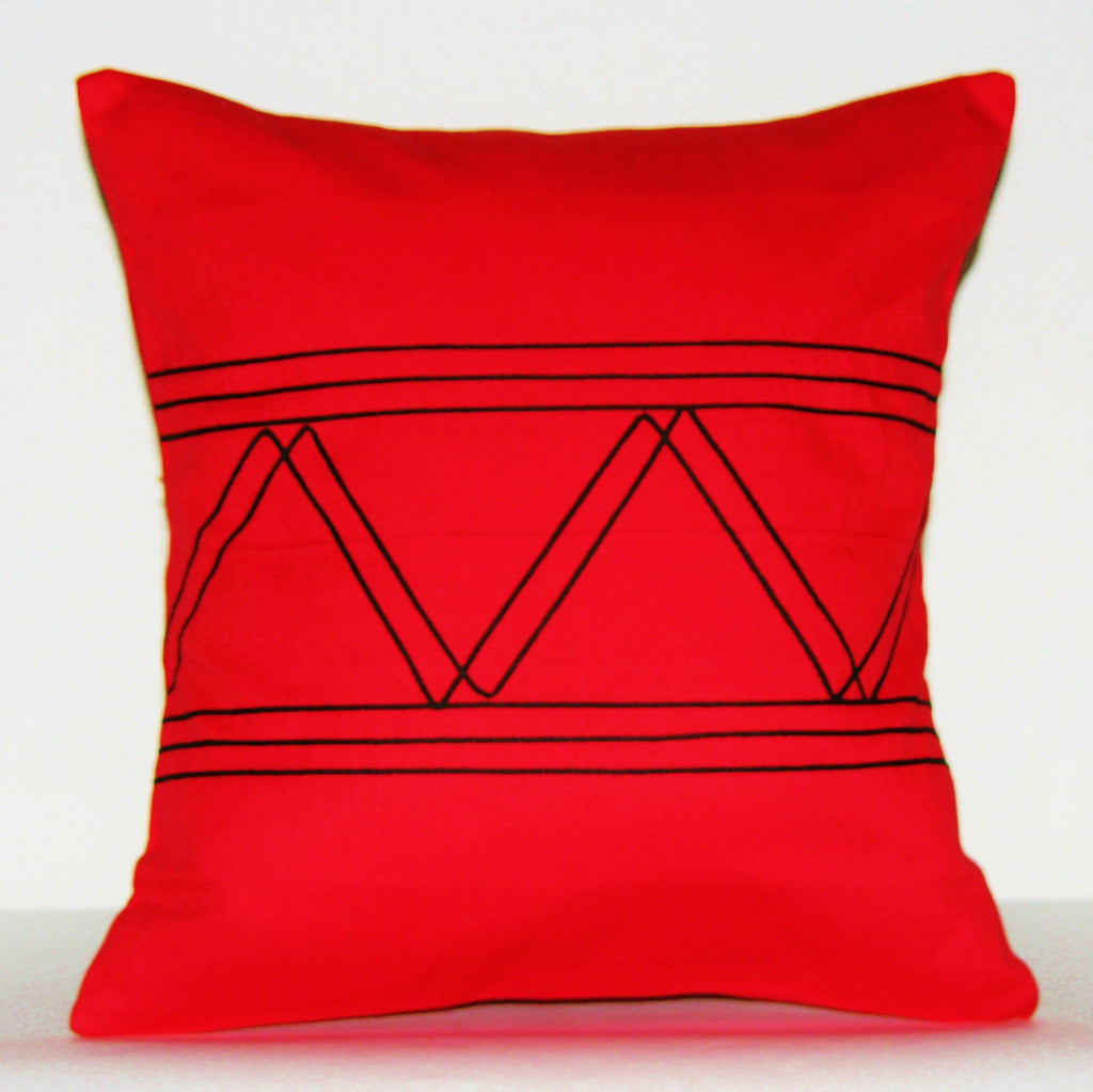 Designer African Xhosa Tribal Pillow Red Black Applique South Africa - Cultures International From Africa To Your Home