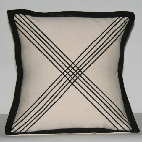 "African Tribal Pillow Ivory Black Applique Crossing Paths 16"" X 16.5"""