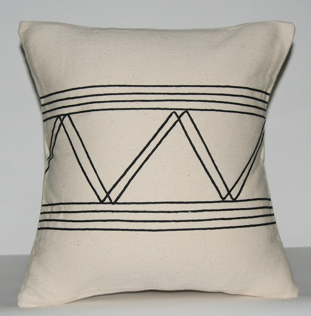"African Pillow Ivory With Black Applique Tribal Designs  16"" X 15.5"" - Cultures International From Africa To Your Home"