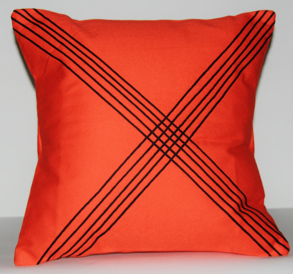 "African Tribal Pillow Handmade -  Orange with Black Applique 16"" X 16"""