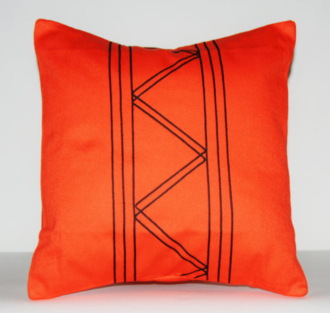 "Designer African Tribal Pillow Orange with Black Applique 16"" X 16"""