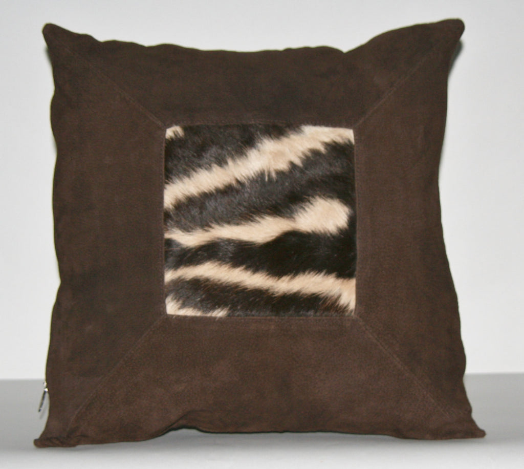 "Authentic African Zebra & Suede Pillow 18"" X 18"" - Cultures International From Africa To Your Home"