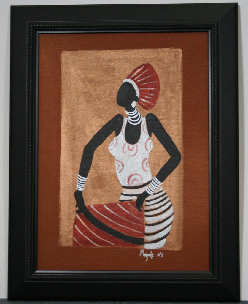 "African Original Painting Xhosa Modern Tribal Woman II Acrylic on Textile Framed in Black 19.5""H X 14.5""W - Cultures International From Africa To Your Home"