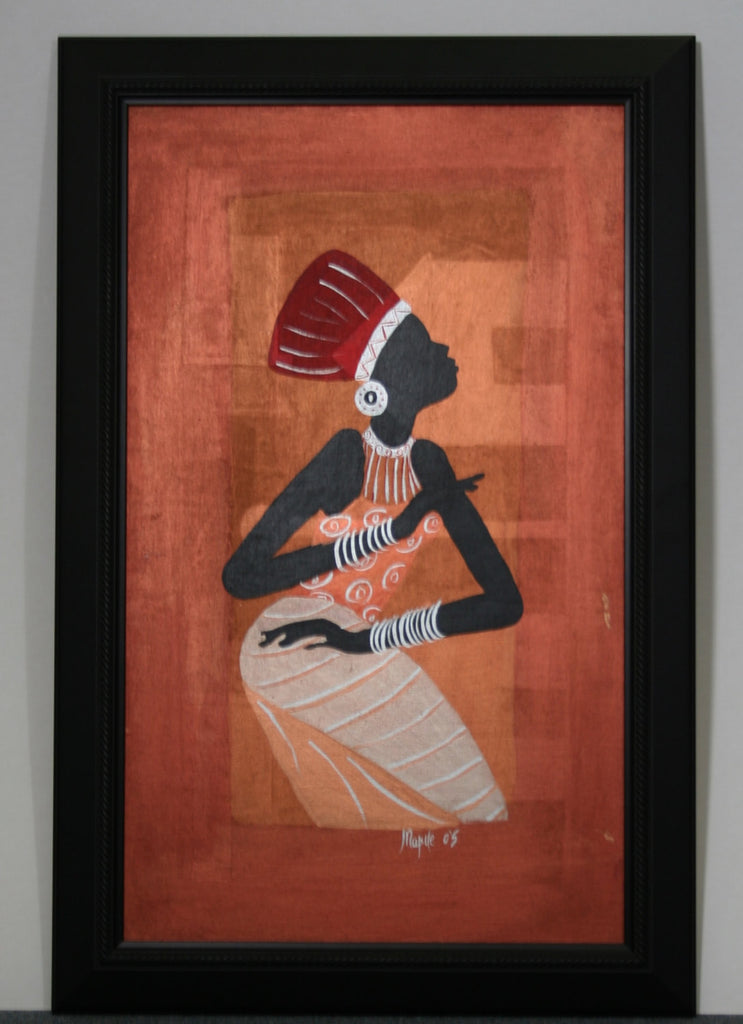 "African Original Painting Xhosa Modern Tribal Woman I Acrylic on Textile Framed in Black 28""H X 18""W - Cultures International From Africa To Your Home"