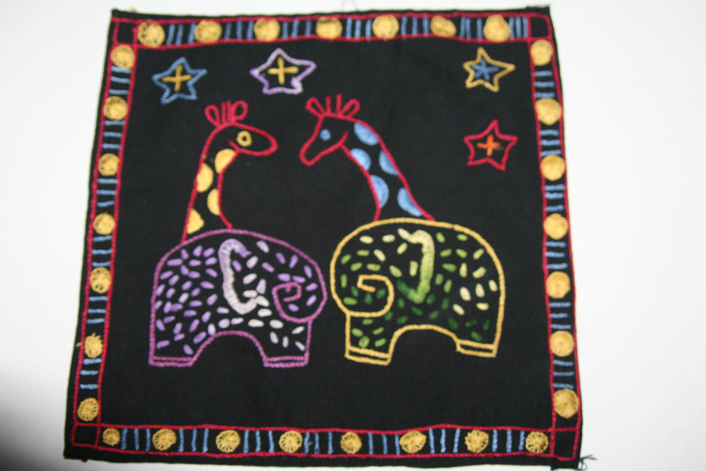 "Embroidered Giraffes Cloth Handmade in South Africa  8.5"" X 8"""