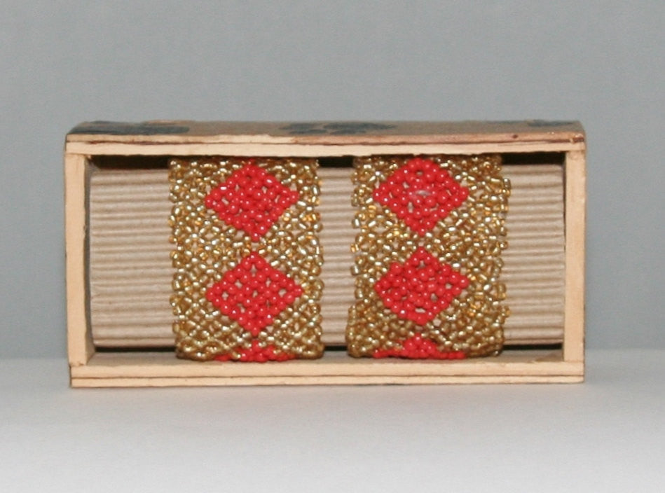 "African Beaded Napkin Rings Gold Red Zulu Tribal Designs Handcrafted Set of 2 South Africa 1"" X 2"" Handmade Wood Gift Box"