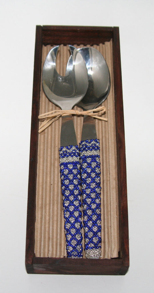 "African Beaded Pasta/Salad Server Utensils Blue Silver Beads Wooden Gift Box Handcrafted in South Africa 9"" X 2"" - Cultures International From Africa To Your Home"
