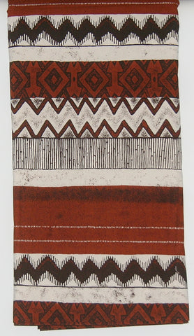 African Fabric 6 Yards+ Cocoa Brown, White, Tribal Design Abstract Designer Fabric Upholstery Quality - culturesinternational  - 1
