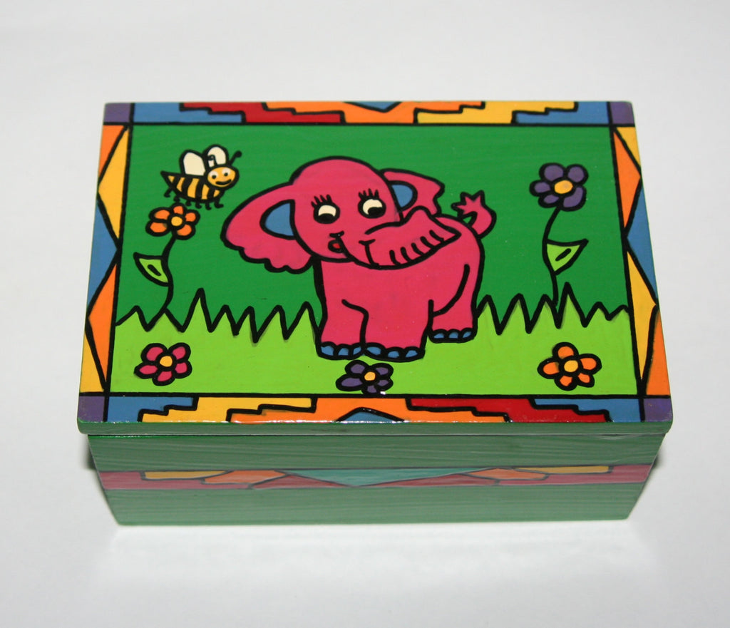 "Pink Elephant Wood Box Carved Painted Vibrant Colors South Africa 6""W X 4""D X 3""H"