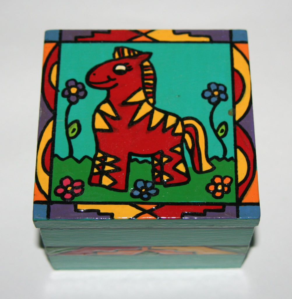 "Happy Red Zebra Wood Box Vibrant Colors African Folk Art 4""W X 4""D X 3""H - culturesinternational  - 1"