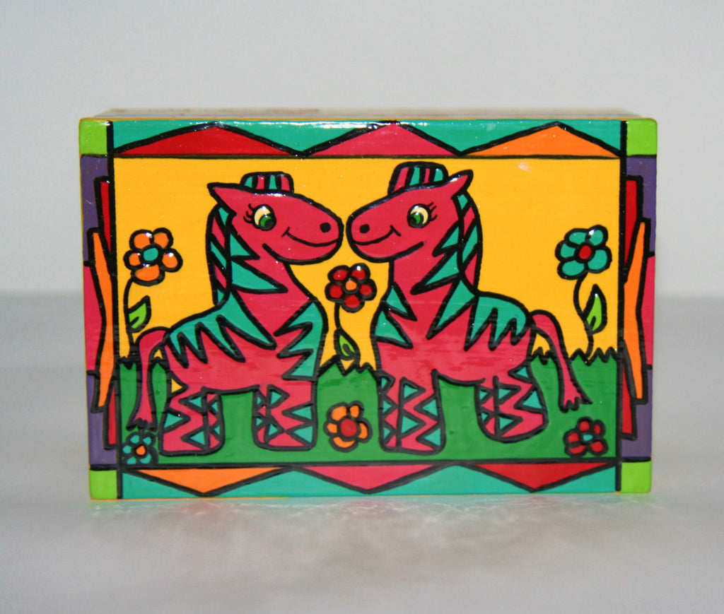 "Child's Happy Pink Zebra Twins Wood Box Carved Painted Vibrant Colors South Africa 6""W X 4""D X 3""H - Cultures International From Africa To Your Home"