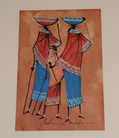 "African Art  Maasai Women Baskets on Head Original Painting Acrylic and Ink on Leather Framed Abstract Kenya 19""H X 15""W"