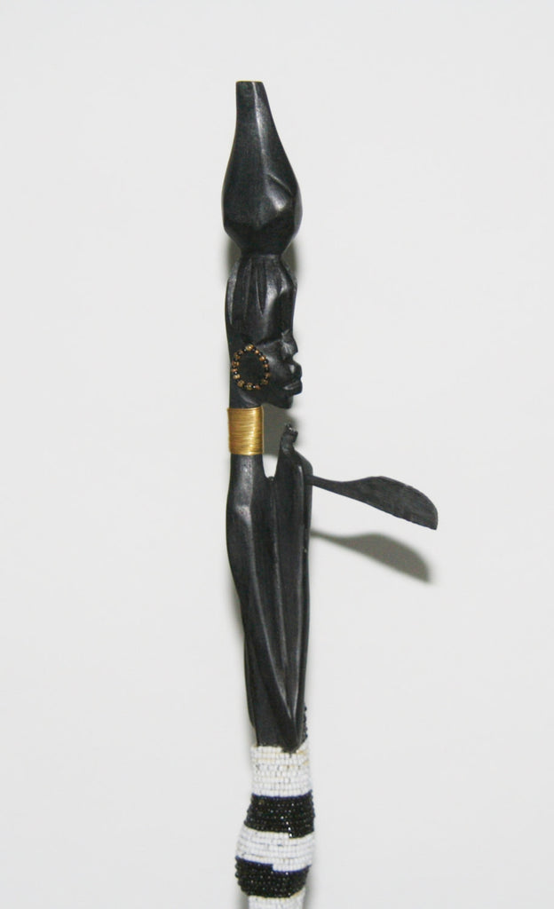 "Vintage Beaded African Tribal Stick Doll Female Black/White Beads Carved Ebony Wood and Bronze  22.25"" H"