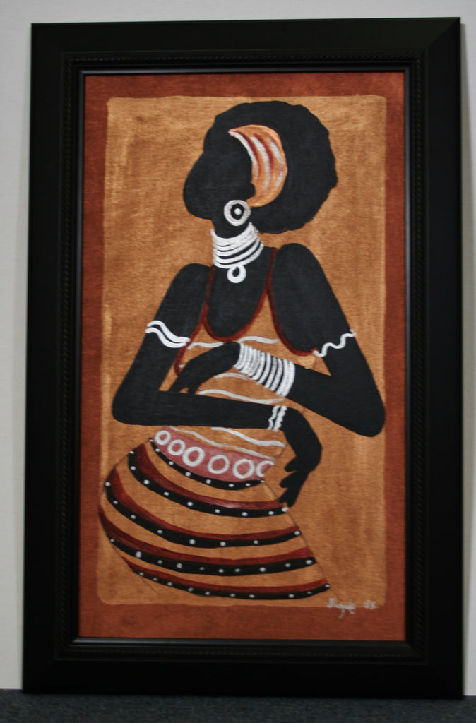 "African Original Painting Xhosa Modern Tribal Woman III Acrylic on Silk Framed in Black 24""H X 15.5""W - Cultures International From Africa To Your Home"
