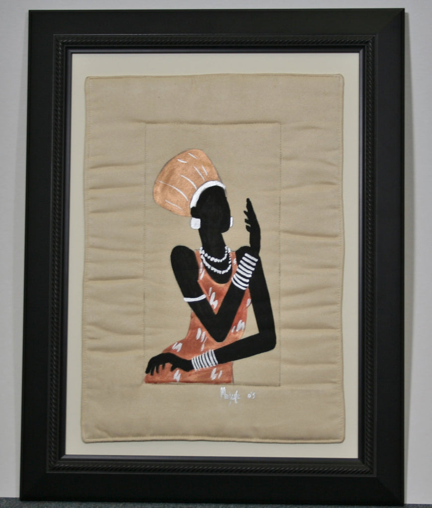 "African Original Painting Xhosa Modern Tribal Woman VI Acrylic on Fabric Framed in Black 21.5""H X 16.5""W X .75""D"