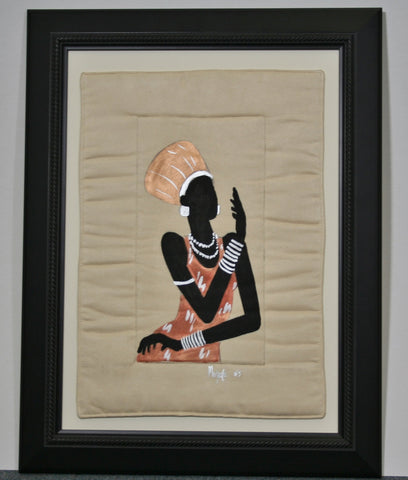 "African Original Painting Xhosa Modern Tribal Woman VI Acrylic on Fabric Framed in Black 21.5""H X 16.5""W X .75""D - Cultures International From Africa To Your Home"