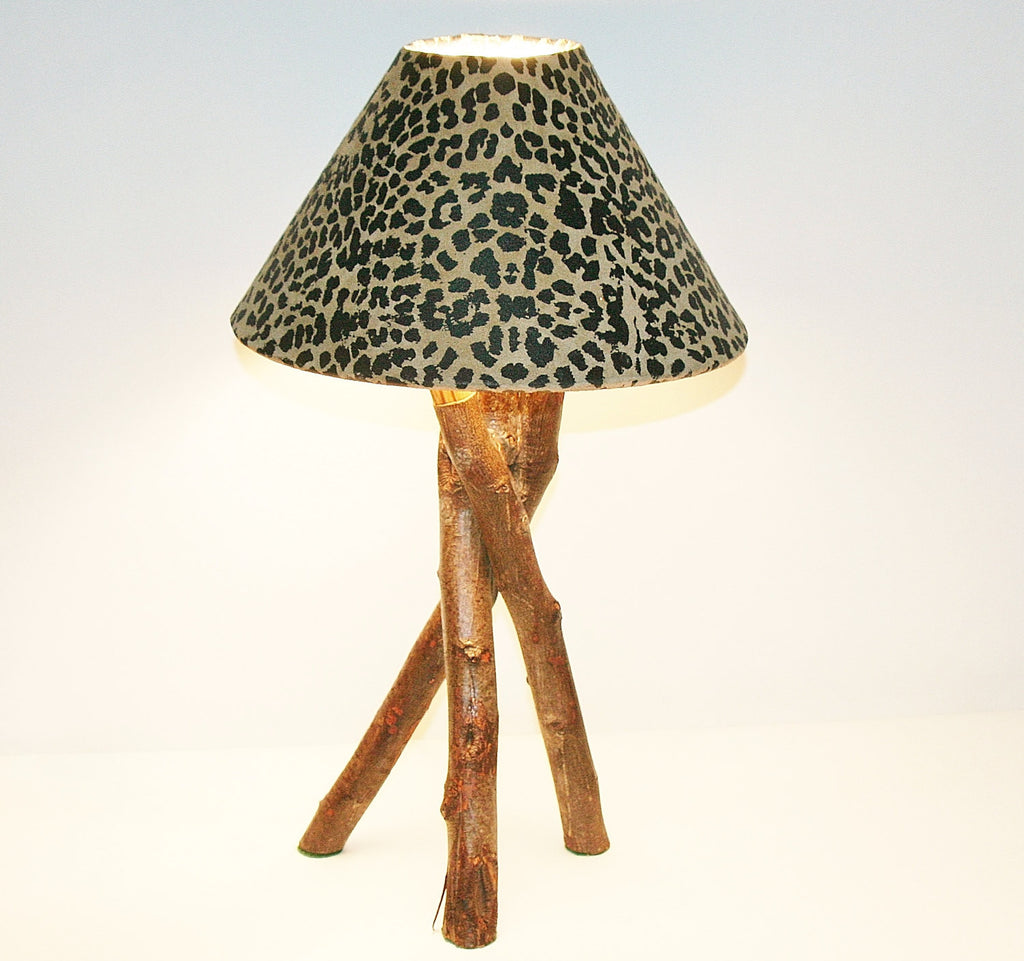"African Table Lamp Leopard Design on Suede Goatskin Shade Rescued Wood from Forests of South Africa 19.75""H SM3"