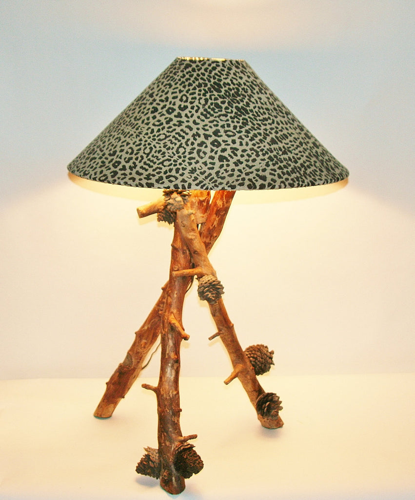 "African Table Lamp Leopard Design on Suede Goatskin Shade Wood Lamp and Pine Cones from Forests of South Africa 30""H PC1"