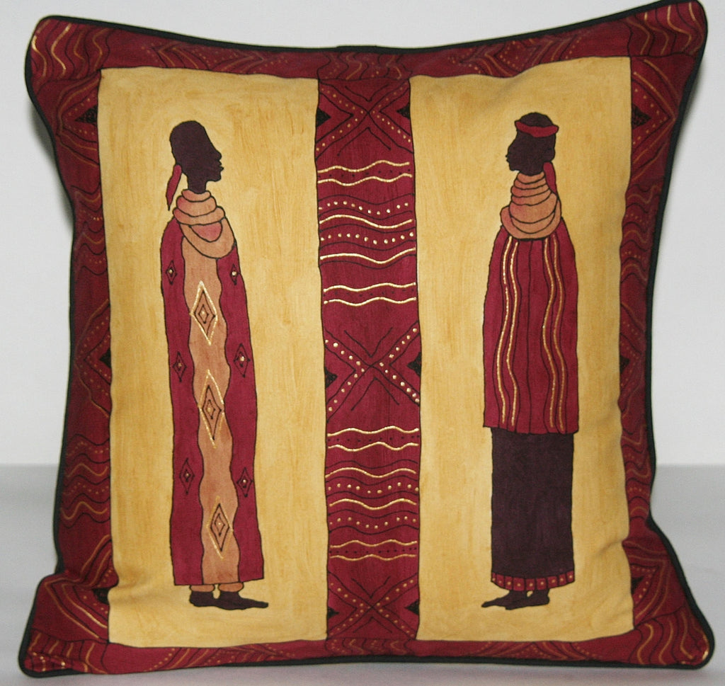 African Tribal Ndebele Couple Pillow Cover Hand Painted African Brown, Gold, Wine, Yellow Cushion Cover - Cultures International From Africa To Your Home
