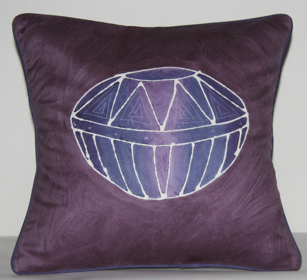 Purple Pillow African Zulu Beer Pot Design Ukhamba Pillow Cover Handpainted in South Africa