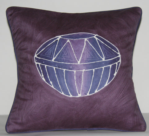 Purple Pillow African Zulu Beer Pot Design Ukhamba Pillow Cover Handpainted in South Africa - Cultures International From Africa To Your Home