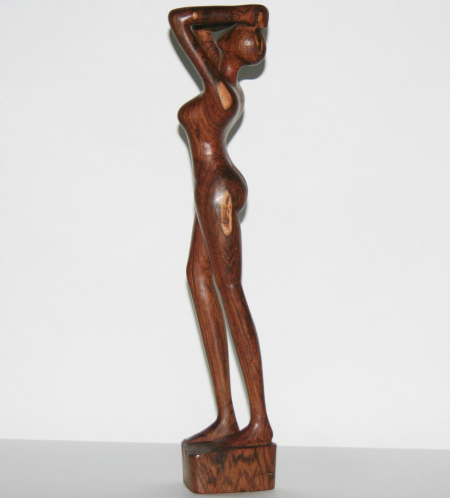 "African Sculpture Mahogany Female Nude  Vintage Handcrafted in Tanzania 16.5""H X 3.5""W X 3.5""D - Cultures International From Africa To Your Home"