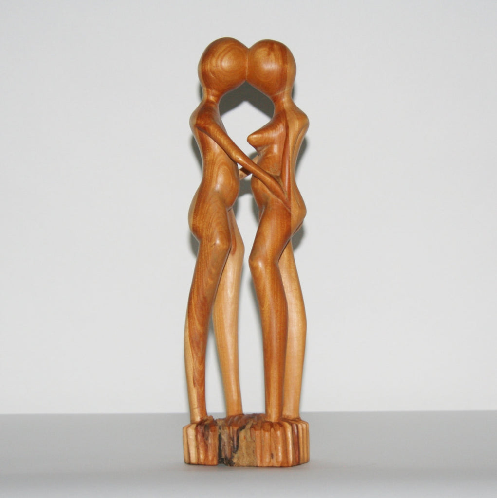 "African Sculpture Loving Couple  Nude Vintage Handcrafted in Tanzania 12.25""H X 4""W X 2.5""D - Cultures International From Africa To Your Home"