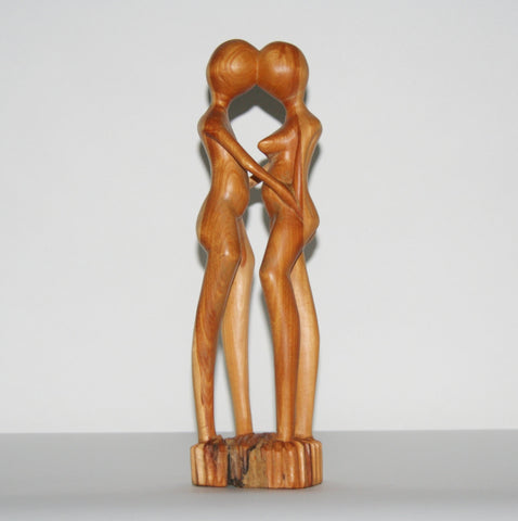 "African Sculpture Loving Couple  Nude Vintage Handcrafted in Tanzania 12.25""H X 4""W X 2.5""D"