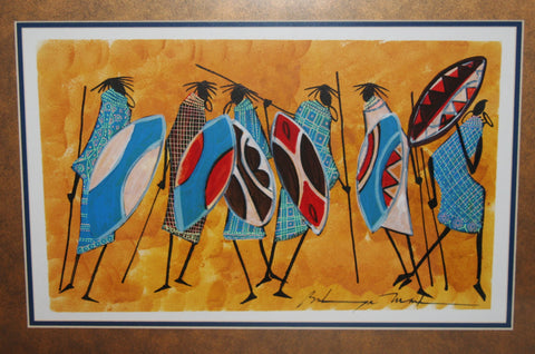 African Art Original Painting Maasai Warriors With Shields Acrylic Ink Abstract Kenya - Cultures International From Africa To Your Home