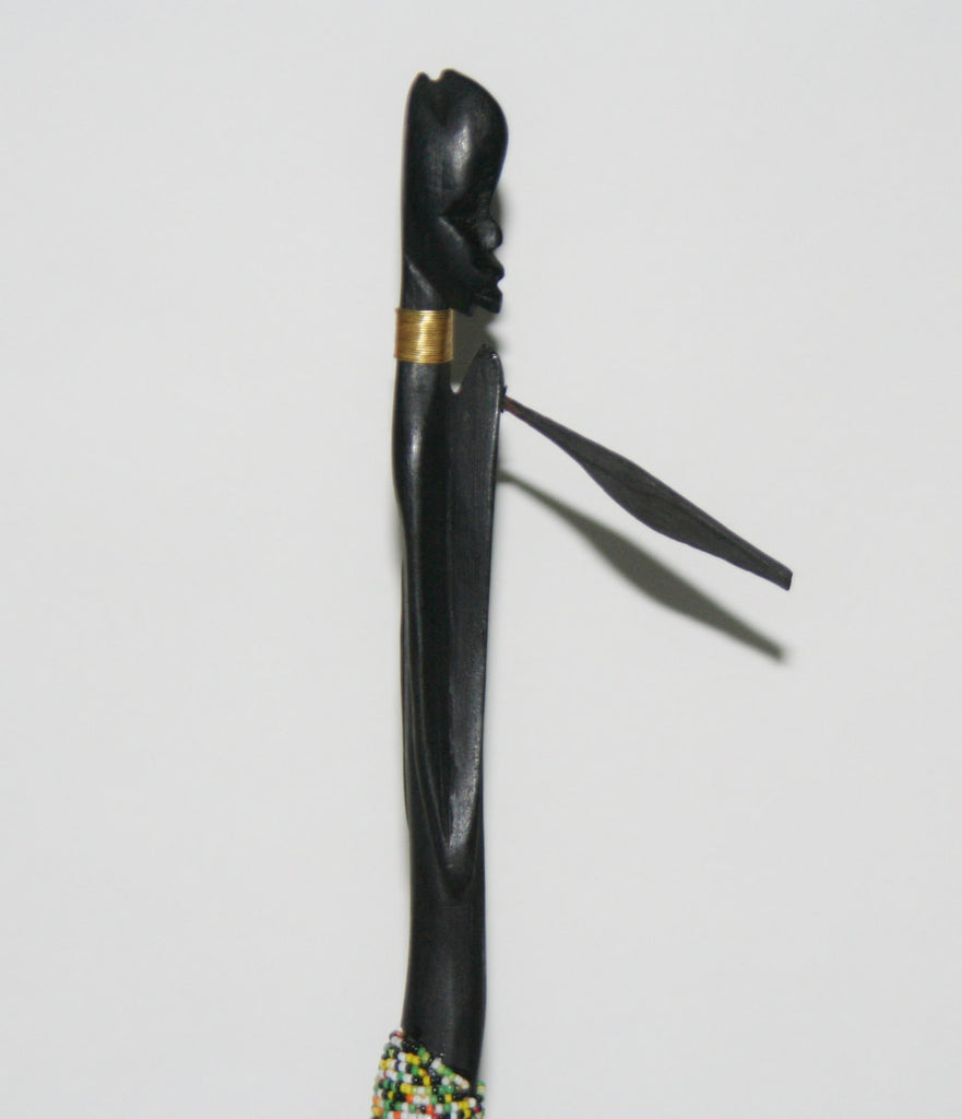 "Vintage Beaded African Tribal Stick Doll Male Black Beaded Carved Ebony Wood and Bronze  21"" H"