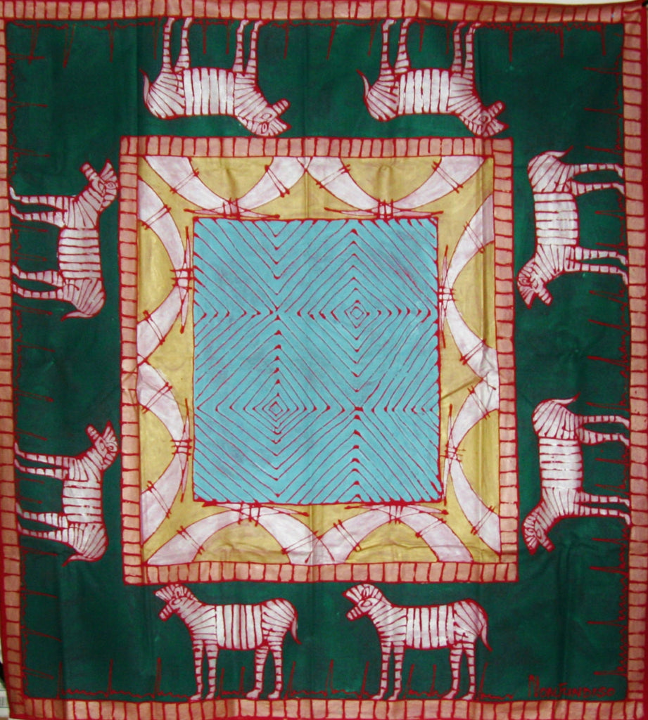 "African Zebra Tapestry/Tablecloth Colors of Forest Green, Pale Gold, Periwinkle,Blue 55""X 58"" South Africa - Cultures International From Africa To Your Home"