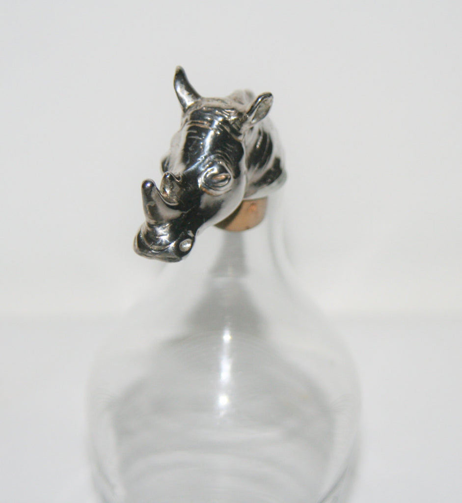African Rhino Wine Cork Bottle Stopper Hallmarked Sterling Big 5 Animal Handcrafted in South Africa - Cultures International From Africa To Your Home