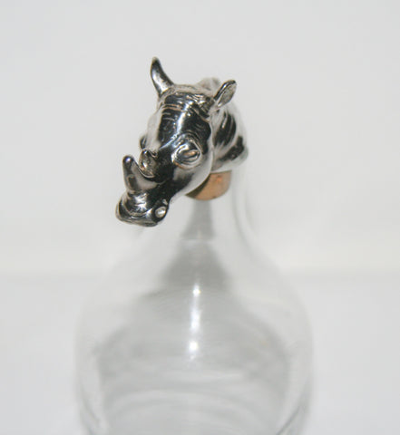 African Rhino Wine Cork Bottle Stopper Hallmarked Sterling Big 5 Animal Handcrafted in South Africa