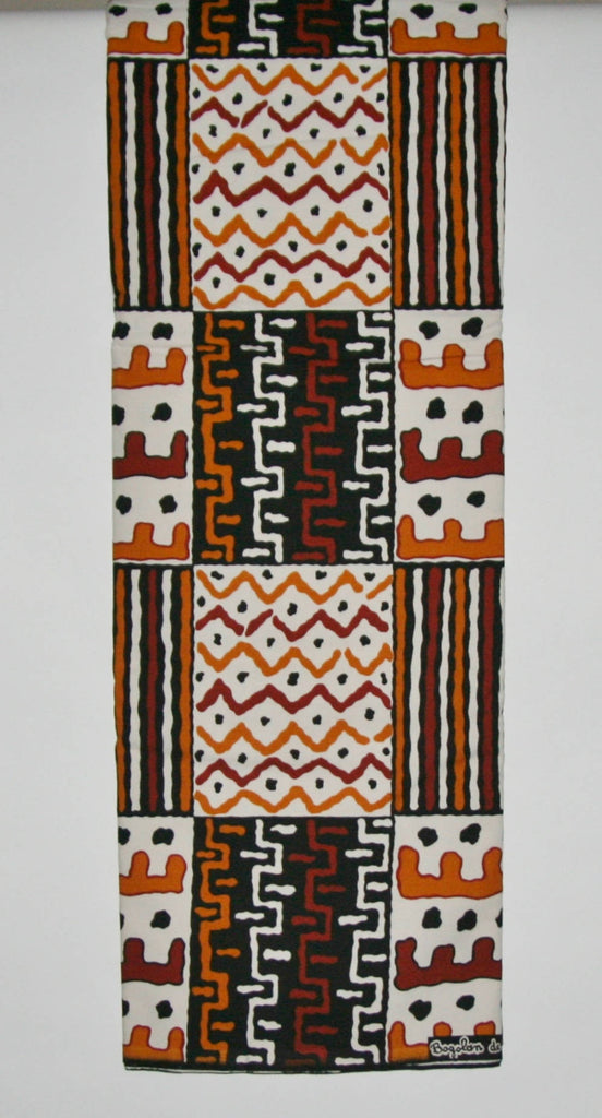 Bogolon de Woodin, 6 Yards Vlisco, Classic African Fabric White, Brown, Sepia, Back Amber