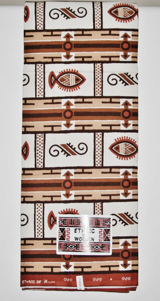 Ethnic De Woodin 6 Yards Vlisco Classic African Fabric Ivory, Sepia Brown - Cultures International From Africa To Your Home