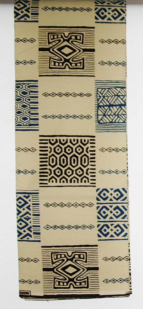 6 Yards African Fabric Vlisco Tisse De Woodin Classic, Beige, Brown, Navy Abstract/Geometric Fabric