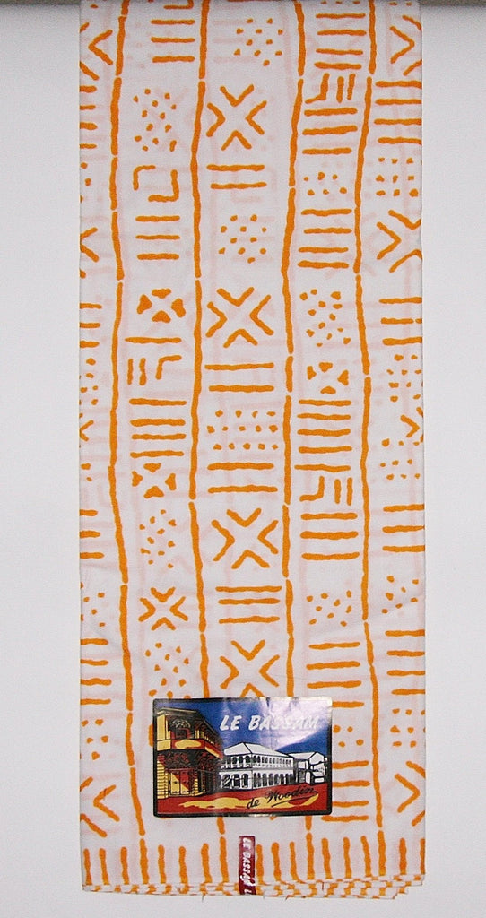 African Fabric 6 Yards White Orange Le Bassam de Woodin Classic Vlisco Classic African Ankara Ivory Coast - Cultures International From Africa To Your Home