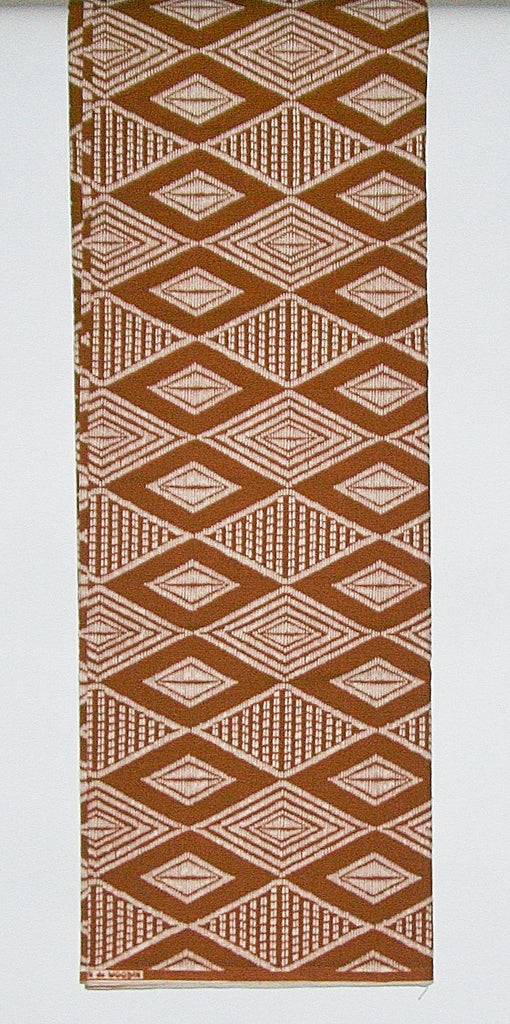 African Fabric 6 Yards   Impression de Woodin Vlisco Classic, Geometric Brown Ivory White - Cultures International From Africa To Your Home