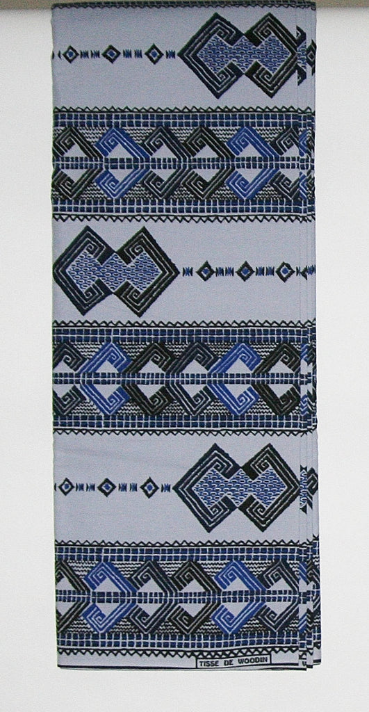 African Fabric 6 Yards Vlisco Classic Couleurs de Woodin Geometric and Bamboo Design in Colors of Pale Blue Gold Copper Yellow Black