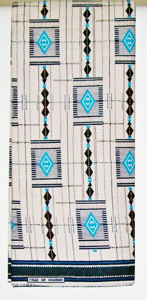 African Fabric 6 Yards Vlisco Tisse de Woodin Classic Cyan Blue, White, Navy, Chocolate,Turquoise Boho Abstract Elements - Cultures International From Africa To Your Home