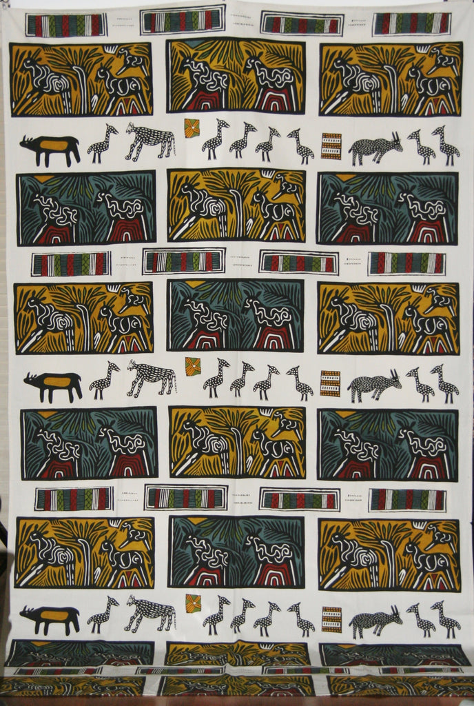 "African Textile Art on Fabric Abstract African Animals in the Forests of Southern Africa 100""L X 60""W Wall Hanging Home Decor - Cultures International From Africa To Your Home"