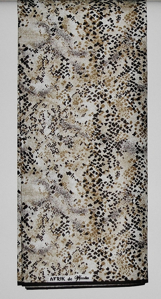 African Fabric 6 Yards Afrik De Woodin Vlisco Classic Wax Print Speckled Colors Bronze, Sand, Sienna Speckles on White - Cultures International From Africa To Your Home