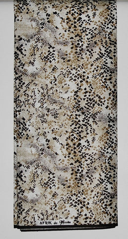 Afrik De Woodin Vlisco Classic Fabric Wax Print 6 Yards Bronze, Sand, Sienna Speckles on White