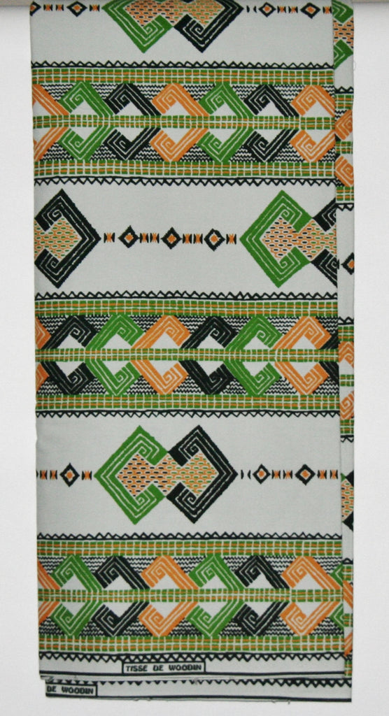 African Fabric 6 Yards Vlisco Tisse de Woodin Classic White Yellow Green Black Orange - Cultures International From Africa To Your Home
